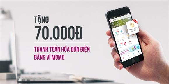 Thanh toán hóa đơn tiền điện bằng ví MoMo tặng ngay 70.000đ