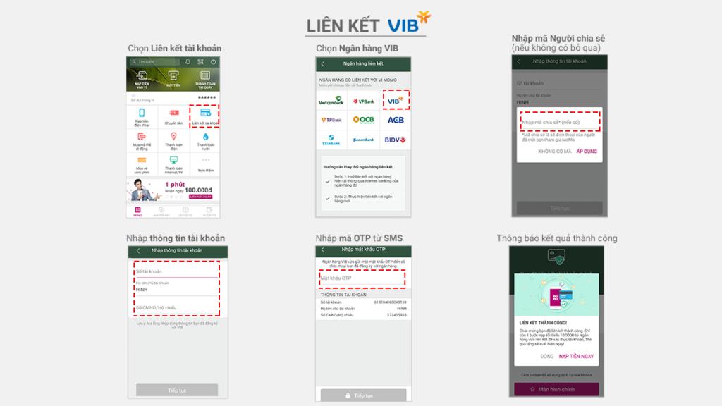 Các bước liên kết ví MoMo với ngân hàng VIB