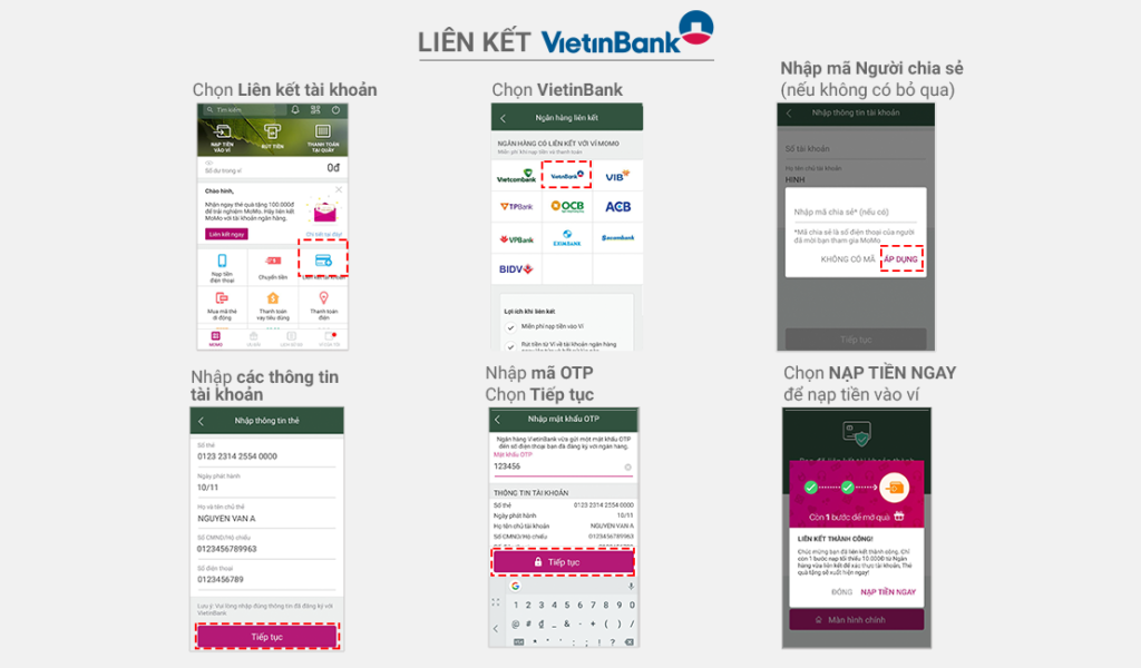 Các bước liên kết Ví MoMo với Vietinbank