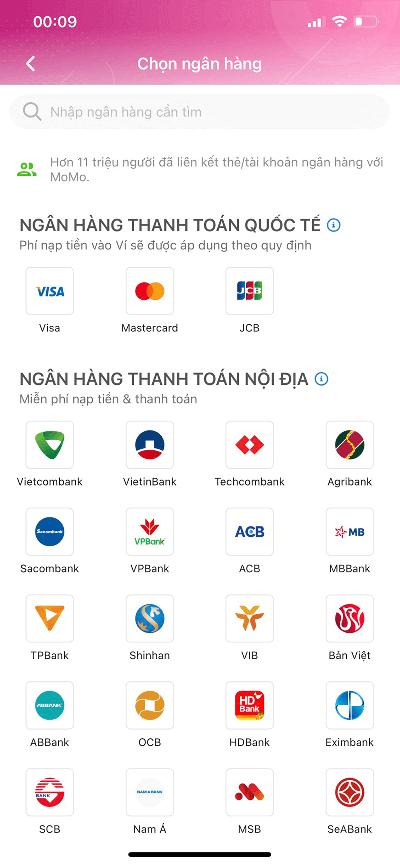 Các ngân hàng liên kết với Ví MoMo